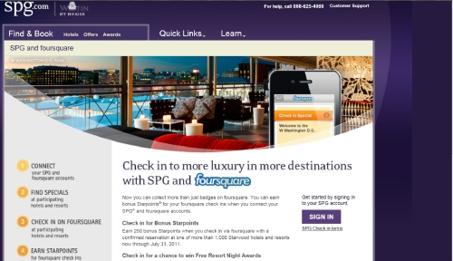 Starwood Preferred Guest & Foursquare